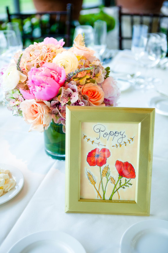 poppy watercolor wedding table names