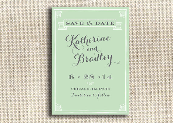 printable save the date mint - custom wedding printables