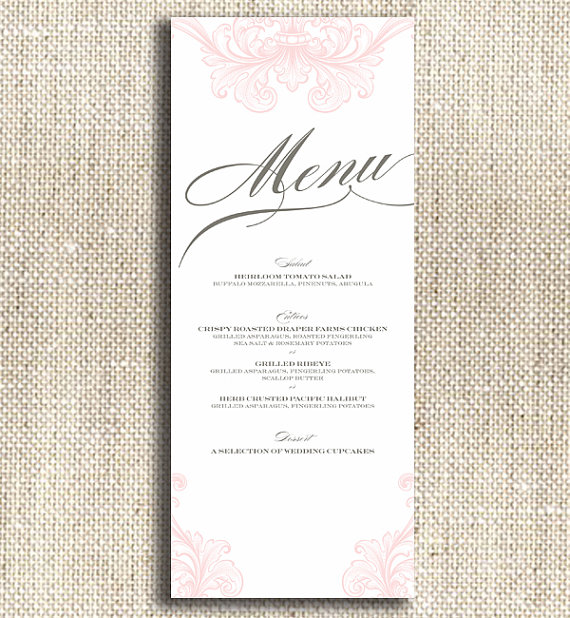 printable wedding menu - pink and white with gray - custom wedding printables