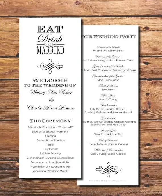 printable wedding programs