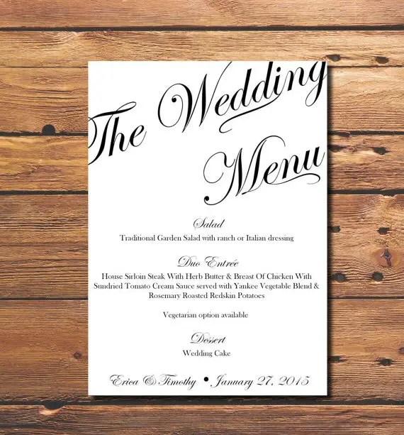 printable wedding table numbers and menus