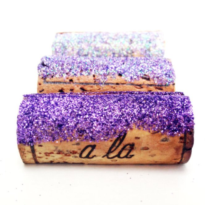 purple glitter place card holders