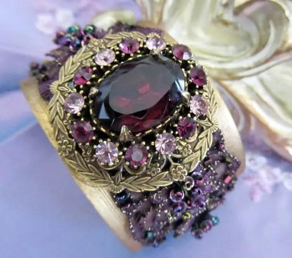 purple rhinestone bridal cuff bracelets