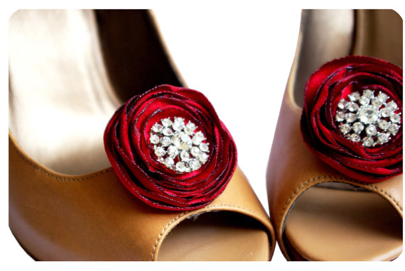 red flower shoe clips with rhinestones via how to save money on wedding shoes