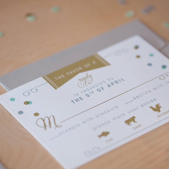 This reply card is modern and elegant.  It ties in with the confetti wedding invite set by Jen Simpson Design