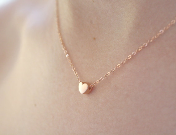 tiny rose heart necklace by ava hope designs | via emmalinebride.com | valentine jewelry etsy
