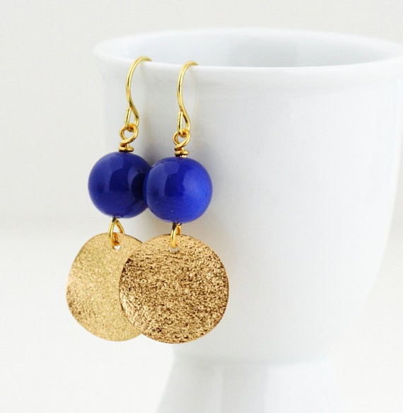 royal blue and gold hammered earrings