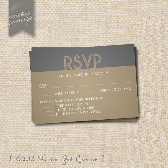 DIY Printable Wedding Invitations (by Melissa Gail Creative) - gold and gray art deco rsvp card