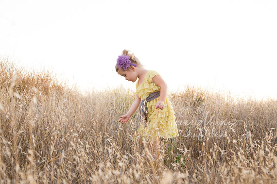 ruffle flower girl dresses - yellow