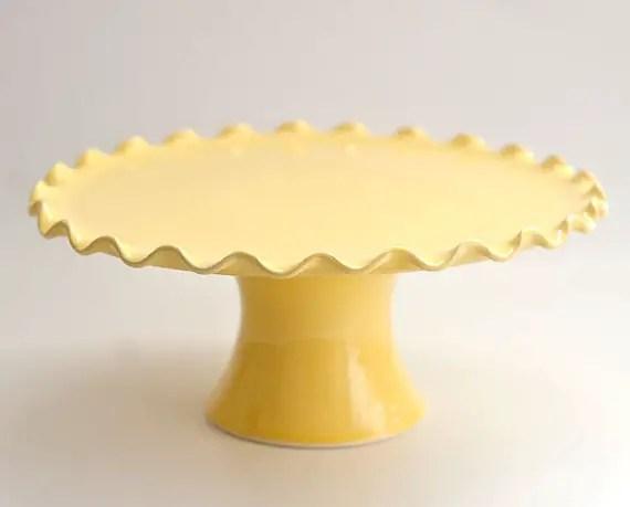 ruffle yellow cake stand
