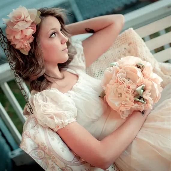 Fabric Flower Bouquet (by Autumn & Grace Bridal) - ruffled flower bouquet