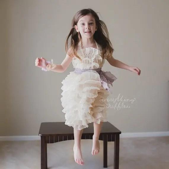 Ruffly Flower Girl Dresses with Sash