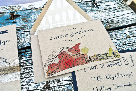 rustic barn invitation - barn wedding ideas