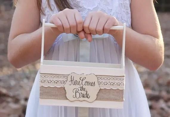 rustic burlap flower girl basket