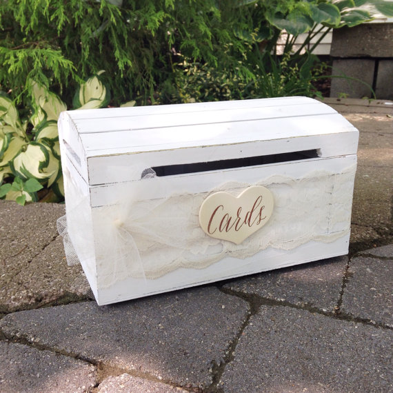 rustic card box white