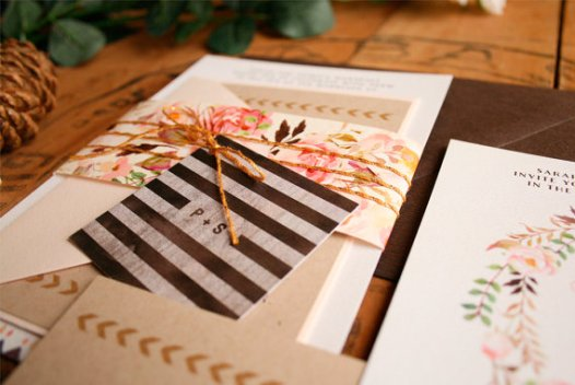 Rustic Floral Wedding Invitations by Paper Street Press | http://emmalinebride.com/rustic/rustic-floral-wedding-invitations/