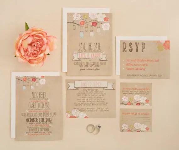 rustic kraft mason jars via 8 Whimsical Wedding Invitations