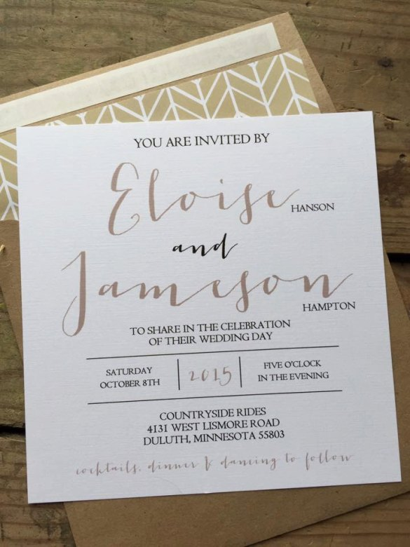 square wedding invitation