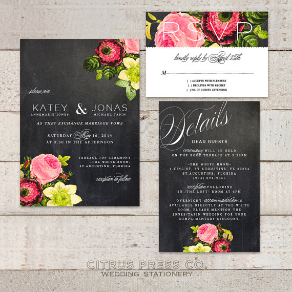 Vintage Rose Wedding Invitation Suite