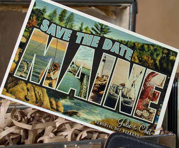 save the date maine | vintage save the date postcards
