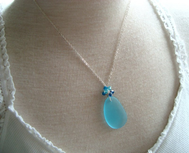 sea glass necklace by fuchsia bloom studio