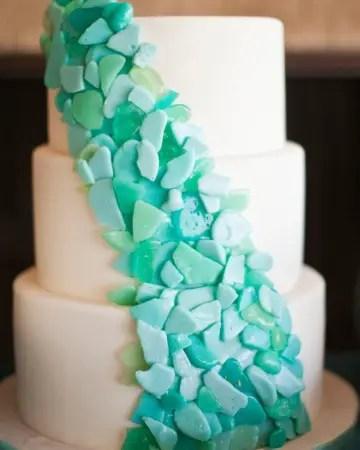 sea glass wedding cake