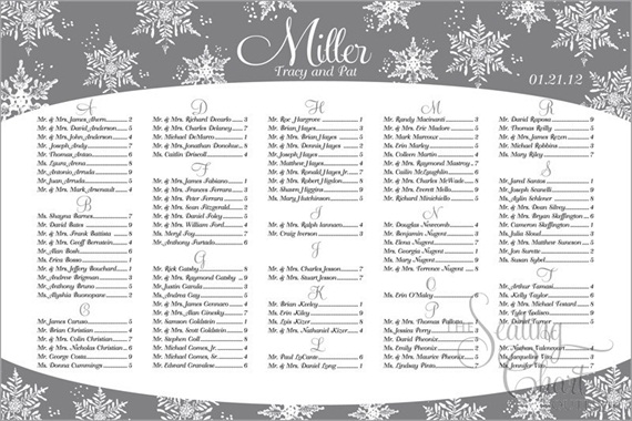 seating chart for wedding winter