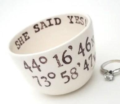 she said yes engagement ring dish