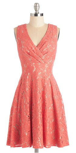 short lacy dress in coral