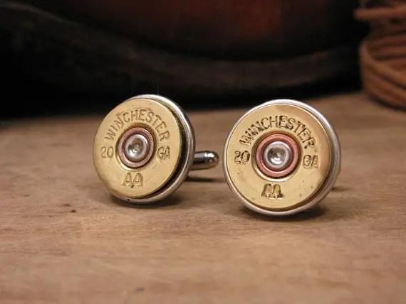 shotgun shell cuff links via 12 Manly, Unique Groomsmen Gift Ideas