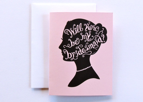 silhouette be my bridesmaid card