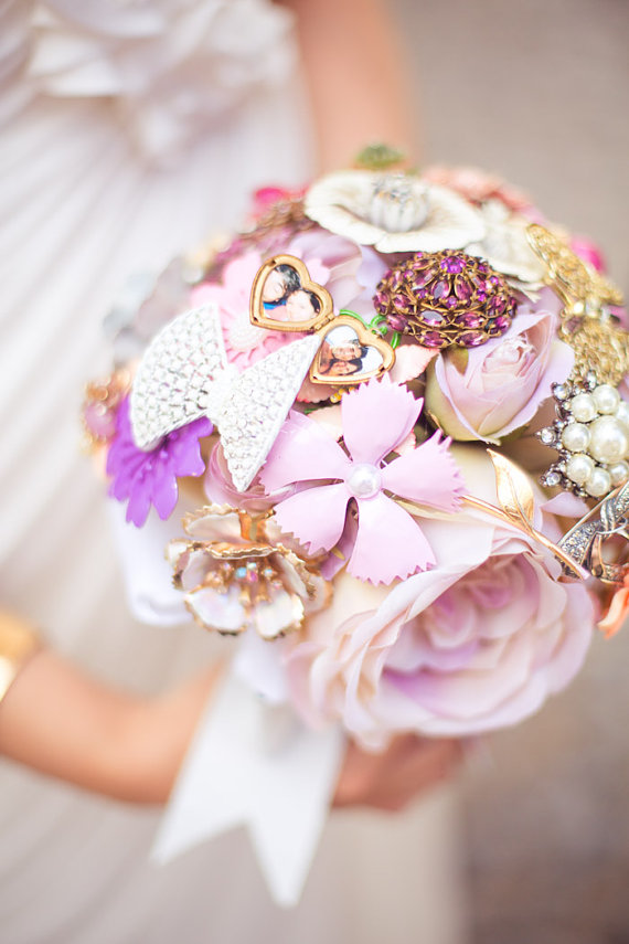 silk flower brooch bouquet