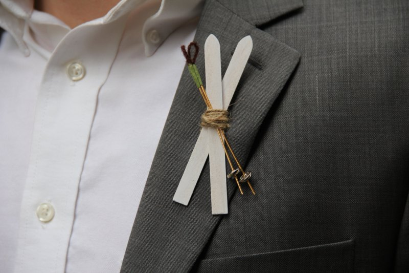 ski boutonniere | 50+ Amazing Mountain Wedding Ideas http://emmalinebride.com/rustic/mountain-wedding-ideas/