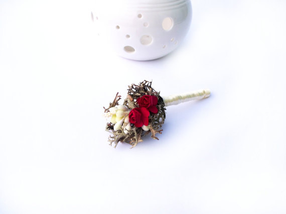 small red rustic wedding boutonniere