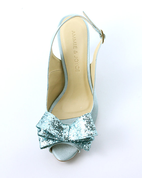 sparkly blue shoes with bow