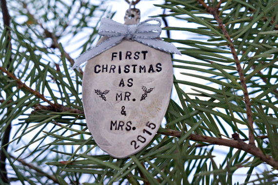 spoon ornament first christmas by the rustic stamp via 50+ First Christmas Ornaments Engaged / Married