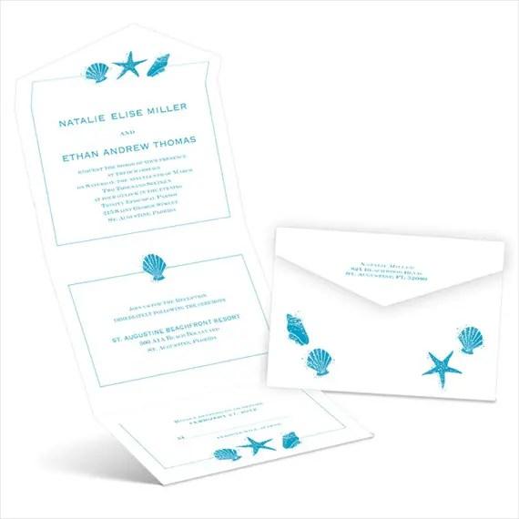 starfish and seashells - seal and send invitations