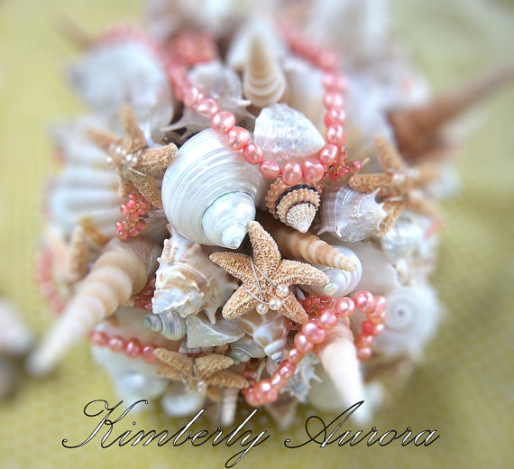 starfish and seashell wedding bouquet | via starfish wedding ideas: http://emmalinebride.com/beach/starfish-wedding-ideas/