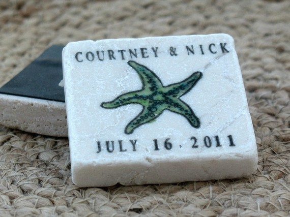 starfish save the date magnets | via starfish wedding ideas: http://emmalinebride.com/beach/starfish-wedding-ideas/