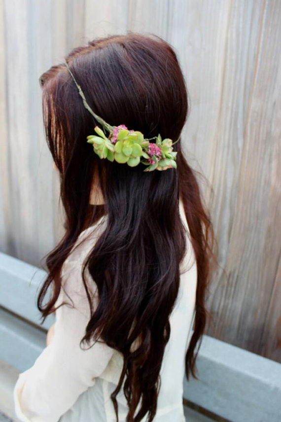 succulent wedding hair crown (by eucca)