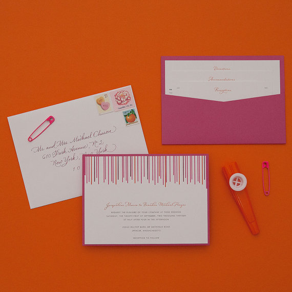 how to coordinate your wedding - swanky stripes wedding invitations (by dear lc)