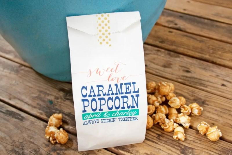 sweet love caramel popcorn bags by Mavora Art and Design | via http://emmalinebride.com/planning/popcorn-favor-weddings/ popcorn favor weddings