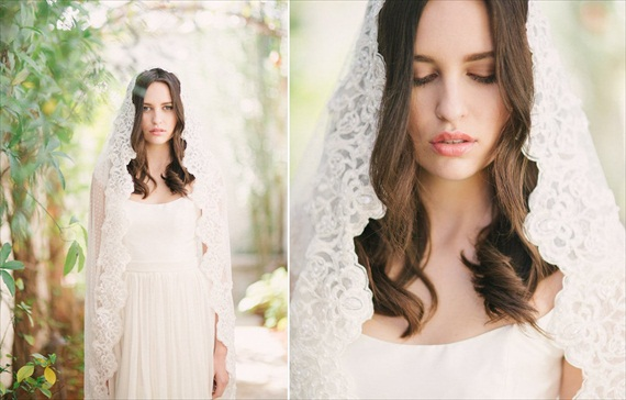 Handmade wedding veil with swiss dots.  Mantilla style.  By Tessa Kim.