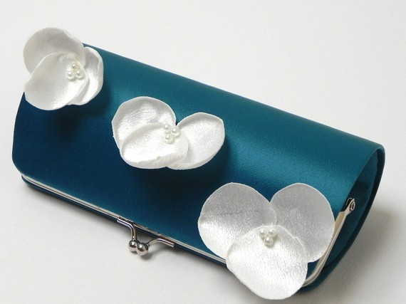 teal clutch with ivory flowers - Teal Wedding Accessories from Fallen Sparrow