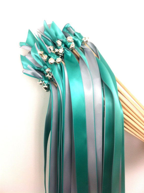 teal and silver ribbon wands with bells