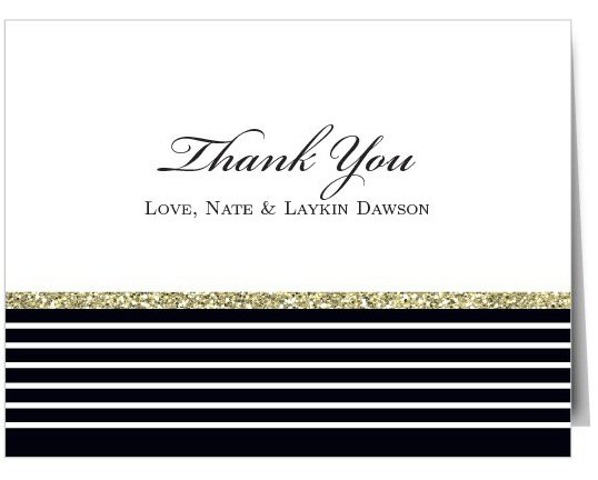 Beautiful thank you card with a modern black and white striped theme with glitter stripe | by Basic Invite | order cards weddings | http://emmalinebride.com/planning/order-cards-weddings/