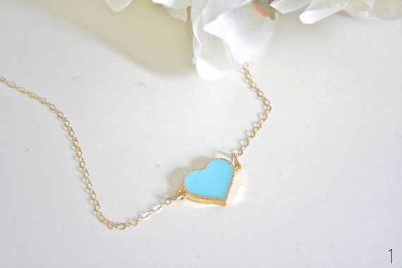 21 Tiffany Blue Wedding Ideas (via EmmalineBride.com) - heart necklace by Ava Hope Designs