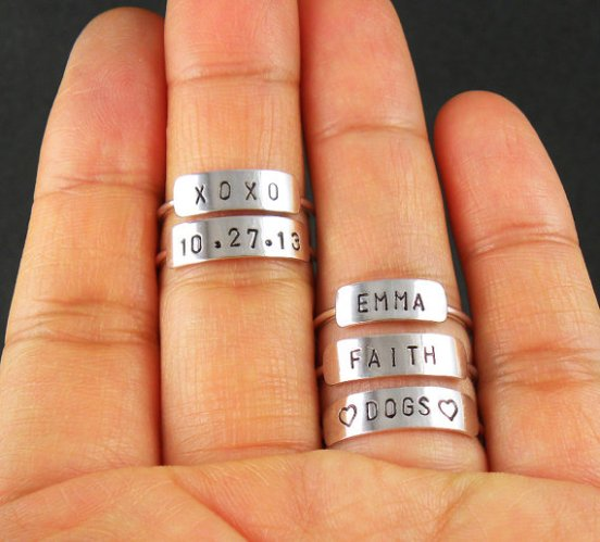 tiny personalized rings