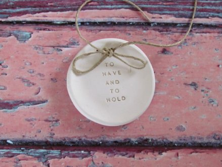 to have and to hold ring dish | via Rustic Ring Pillows http://emmalinebride.com/ceremony/rustic-ring-pillows/