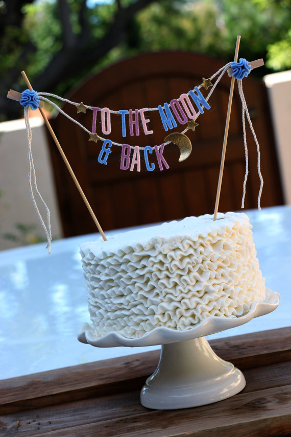 to the moon and back wedding cake topper banner